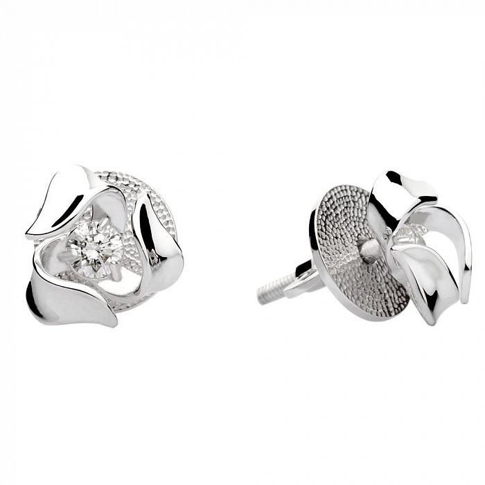 Пуссеты из белого золота с бриллиантами Элеонора 000030533