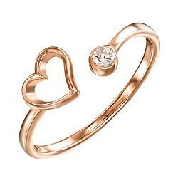 Кольцо из красного золота с фианитом 000121686