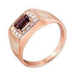 Перстень-печатка из красного золота с раухтопазом и фианитами 000136207
