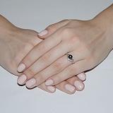 Серебряное кольцо Мия с черным жемчугом