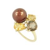 Золотое кольцо с жемчугом, раухтопазом, цитрином и бриллиантами Мадемуазель