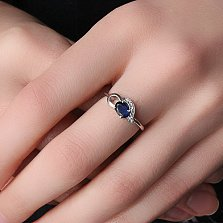 Серебряное кольцо Азон с сапфиром и цирконием