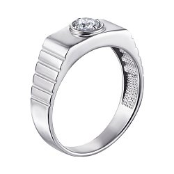 Серебряный перстень-печатка с цирконием 000119313