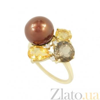 Золотое кольцо с жемчугом, раухтопазом, цитрином и бриллиантами Мадемуазель 1К309-0009