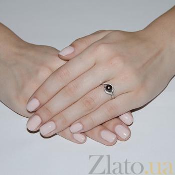 Серебряное кольцо Мия с черным жемчугом 1770/9р ч жем