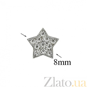 Серебряные серьги с цирконием Звезда ZMX--ECz-00201-Ag_K