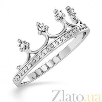Кольцо из белого золота с фианитами Королевская власть SUF--140720б