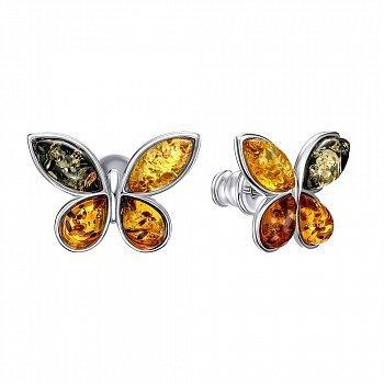 Серебряные серьги-пусеты с янтарем 000146320