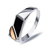 """Перстень печатка из серебра с золотом и обсидианом""""Энио"""""""