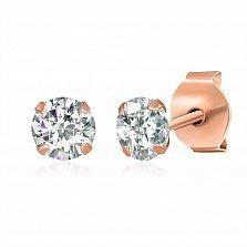Позолоченные серебряные сережки-пуссеты с цирконием Эсселта