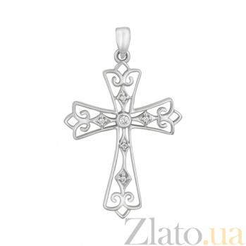 Крестик из белого золота с бриллиантами Ажурный SVA--3101186202/Бриллиант