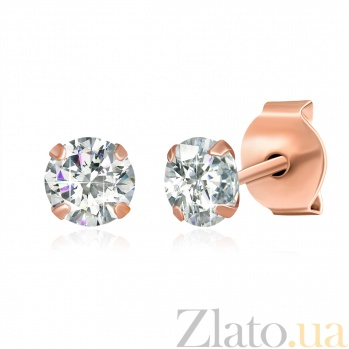 Позолоченные серебряные сережки-пуссеты с цирконием Эсселта SLX--С3Ф/603