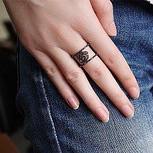 Серебряное кольцо Роза с чёрным цирконием