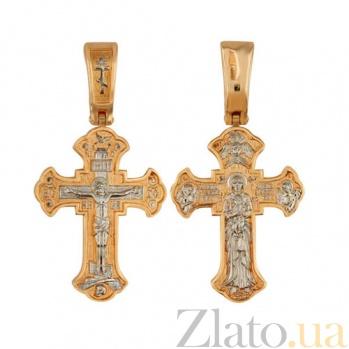 Золотой крестик с белым родированием Милость Богородицы VLT--КС1-3044-2