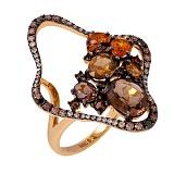 Золотое кольцо с раухтопазом, цитрином и бриллиантами Жоржетта