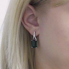 Серебряные серьги Жермена с зеленым кварцем и фианитами