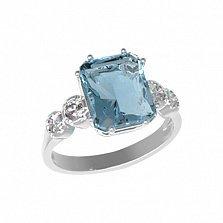 Серебряное кольцо Адалин с кварцем под голубой топаз и фианитами