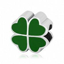 Серебряный шарм Листик клевера с зеленой эмалью