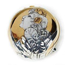 Серебряная шкатулка Барышня с позолотой