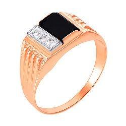 Золотой перстень-печатка в комбинированном цвете с черным ониксом и фианитами 000104113