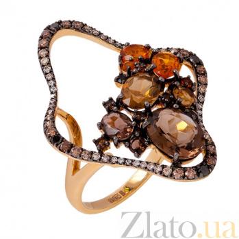 Золотое кольцо с раухтопазом, цитрином и бриллиантами Жоржетта 1К869-0011