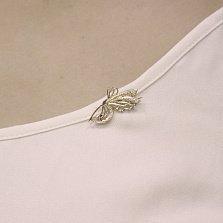 Золотая булавка Фея-бабочка с ажурными крыльями и белыми фианитами