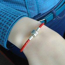 Кожаный браслет красного цвета с серебряной застёжкой Роскошь