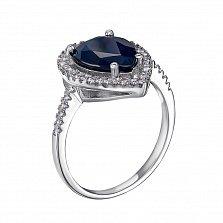 Серебряное кольцо Одетта с сапфиром и фианитами