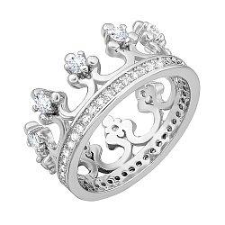 Серебряное кольцо-корона с фианитами и родированием 000028299