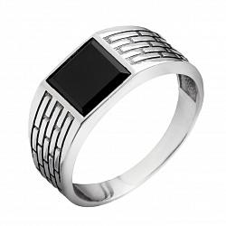 Серебряный перстень-печатка Брикс с ониксом и фактурной шинкой