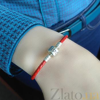 Кожаный браслет красного цвета с серебряной застёжкой Роскошь HUF-5541-Чк.п.кр