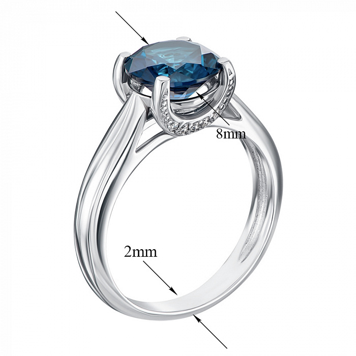 Серебряное кольцо Адриана с голубым кварцем 000064395