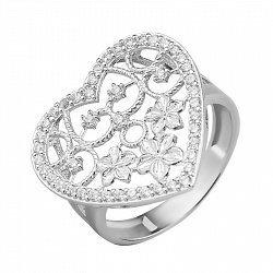 Узорное серебряное кольцо с фианитами 000135202