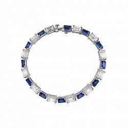 Серебряный браслет с синтезированными сапфирами и фианитами 000099656