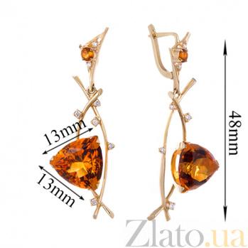 Золотые серьги Осенний бал в евро цвете с цитринами и бриллиантами 000055016