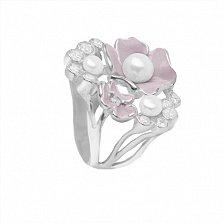 Серебряное кольцо Магнолия с жемчугом, фианитами и розовой эмалью