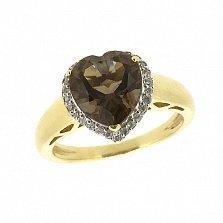 Золотое кольцо в желтом цвете с раухтопазом и бриллиантами Сердце
