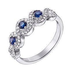 Серебряное кольцо с сапфирами и фианитами 000125565