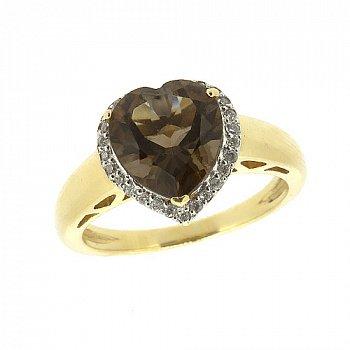 Золотое кольцо в желтом цвете с раухтопазом и бриллиантами 000021198