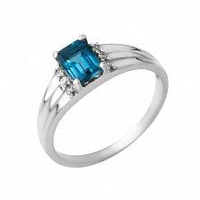 Серебряное кольцо Карлотта с топазом лондон и фианитами