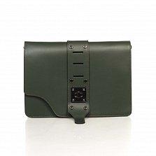 Кожаный клатч Genuine Leather 8917 темно-зеленого цвета с декоративной пряжкой