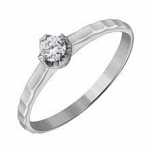 Помолвочное кольцо из белого золота Вечная любовь с бриллиантом 0,14ct