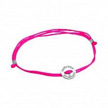 Шелковый браслет Любимая доченька с серебряной вставкой