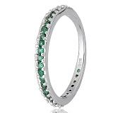 Серебряное кольцо Рувайда с зеленым цирконием