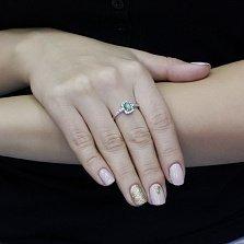Серебряное кольцо Роберта с изумрудом и фианитами