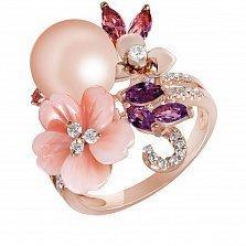 Золотое кольцо с жемчугом, перламутром, топазами, бриллиантами и турмалинами Серенити