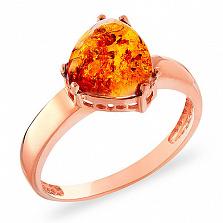 Кольцо из красного золота с янтарем Эмбер