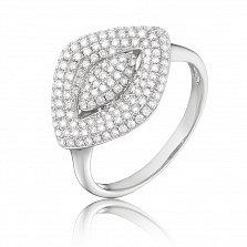 Золотое кольцо Алегра в белом цвете c узором и бриллиантами