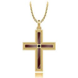 Крестик из желтого золота с черным бриллиантом Тайна: Союз 000011799