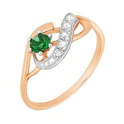 Серебряное кольцо с позолотой и зеленым цирконием 000028212